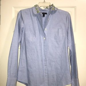 JCrew long sleeve oxford with stoned collar size 2